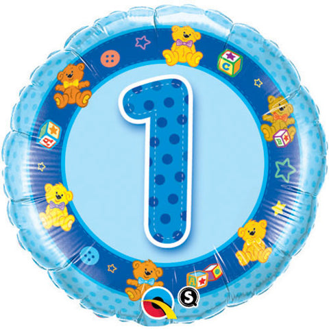 1 Blue Teddies Balloon