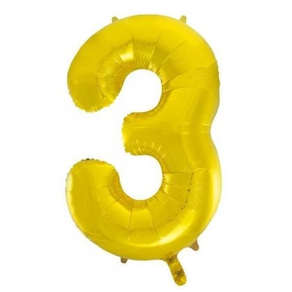 Number Balloon - 3 - Gold