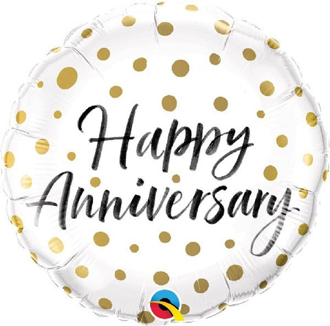 Happy Anniversary Gold Dots Balloon