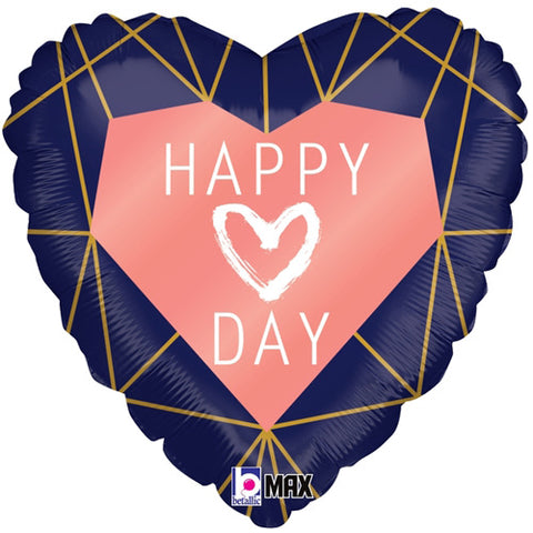 Geo Navy Heart Balloon