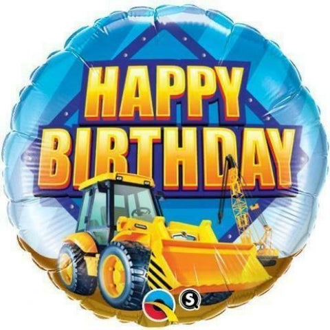 Construction Digger Birthday Balloon