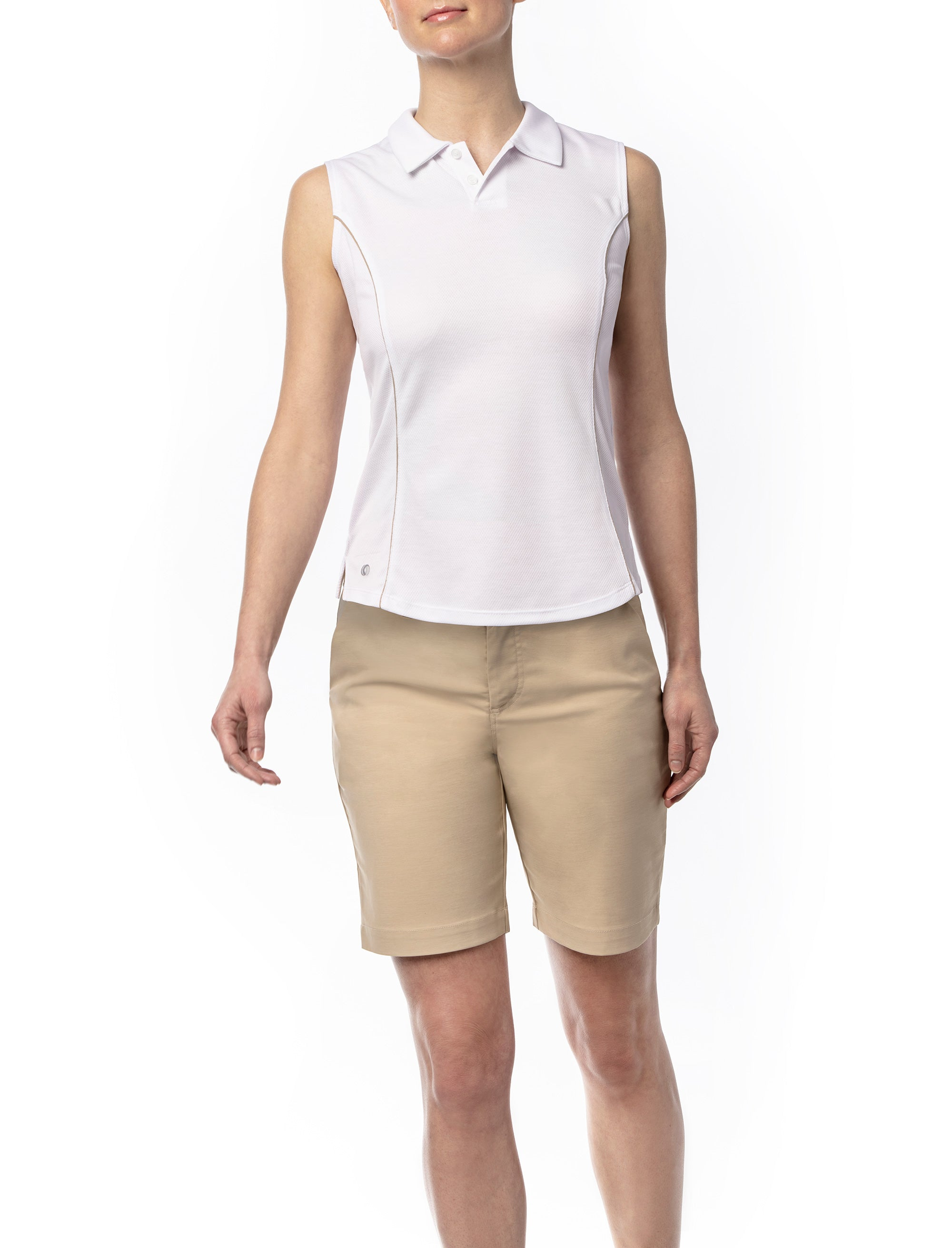 Zephyr Sleeveless Polo With Tan Detail