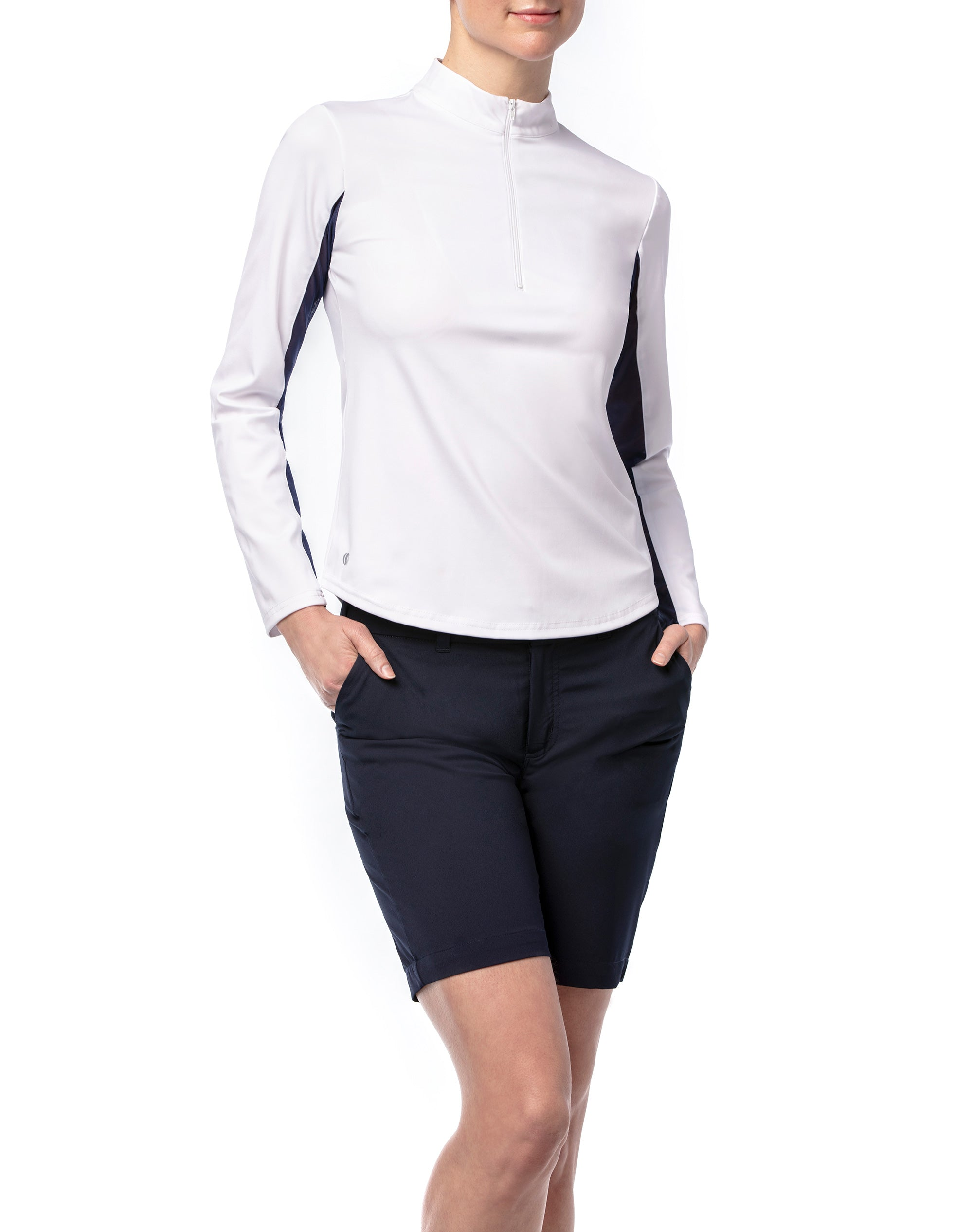 Smooth Swing Long Sleeve Pullover in White With Navy Mesh