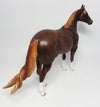 SLING SHOT~OOAK DAPPLE LIVER CHESTNUT ISH MODEL HORSE BY SHERYL LEISURE 4/12