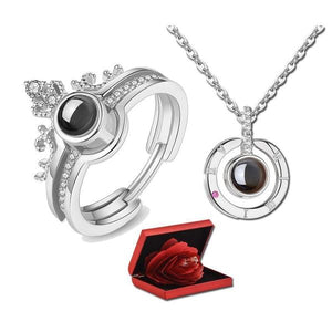 "100-Language ""I Love You"" Adjustable Ring & Necklace with Rose Box"