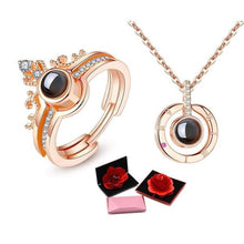 "Load image into Gallery viewer, 100-Language ""I Love You"" Adjustable Ring & Necklace with Rose Box"