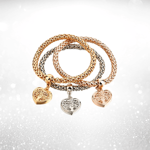 """Tree of Life"" Heart Edition Charm Bracelet with Austrian Crystals"