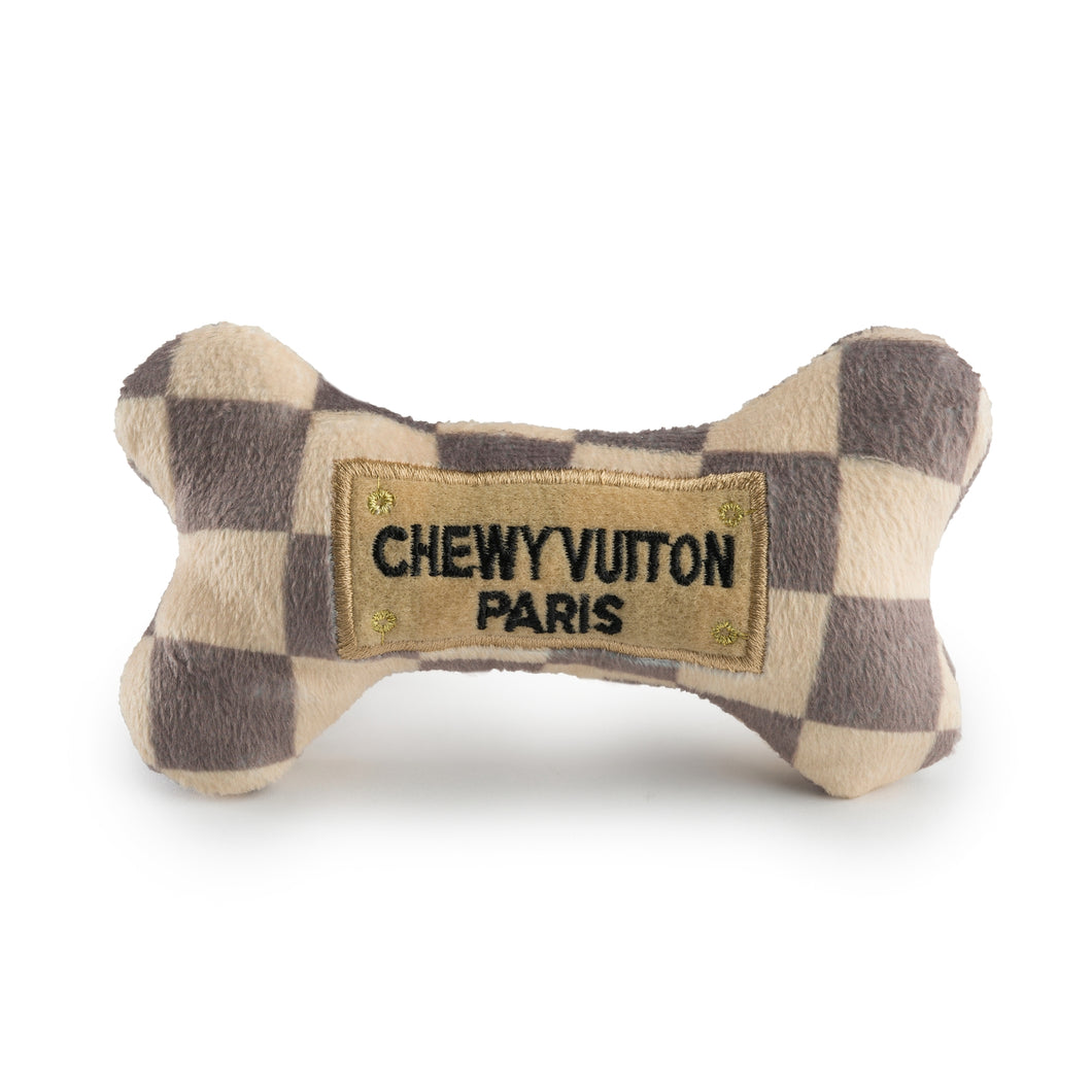 Checker Chewy Vuiton Bone Dog Toy - Small