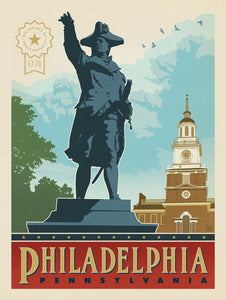 Independence Hall Vintage Travel Print