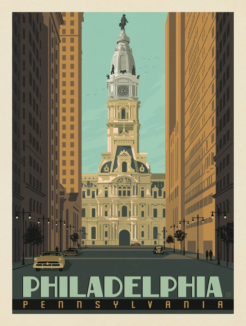 City Hall Vintage Travel Print