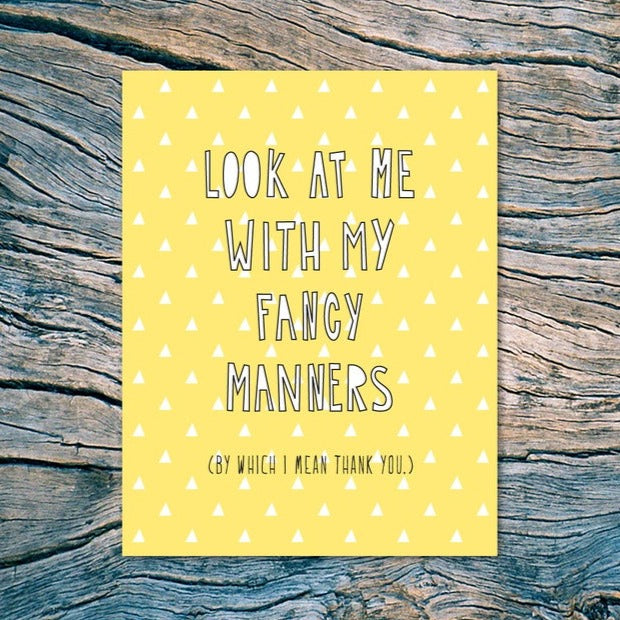 Fancy Manners Thank You Card