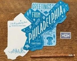 Philadelphia Map Postcard