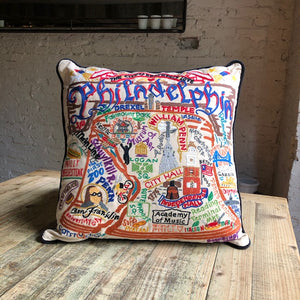 Hand-Embroidered Philadelphia Pillow