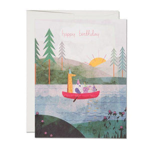 Four Canoe Birthday Card