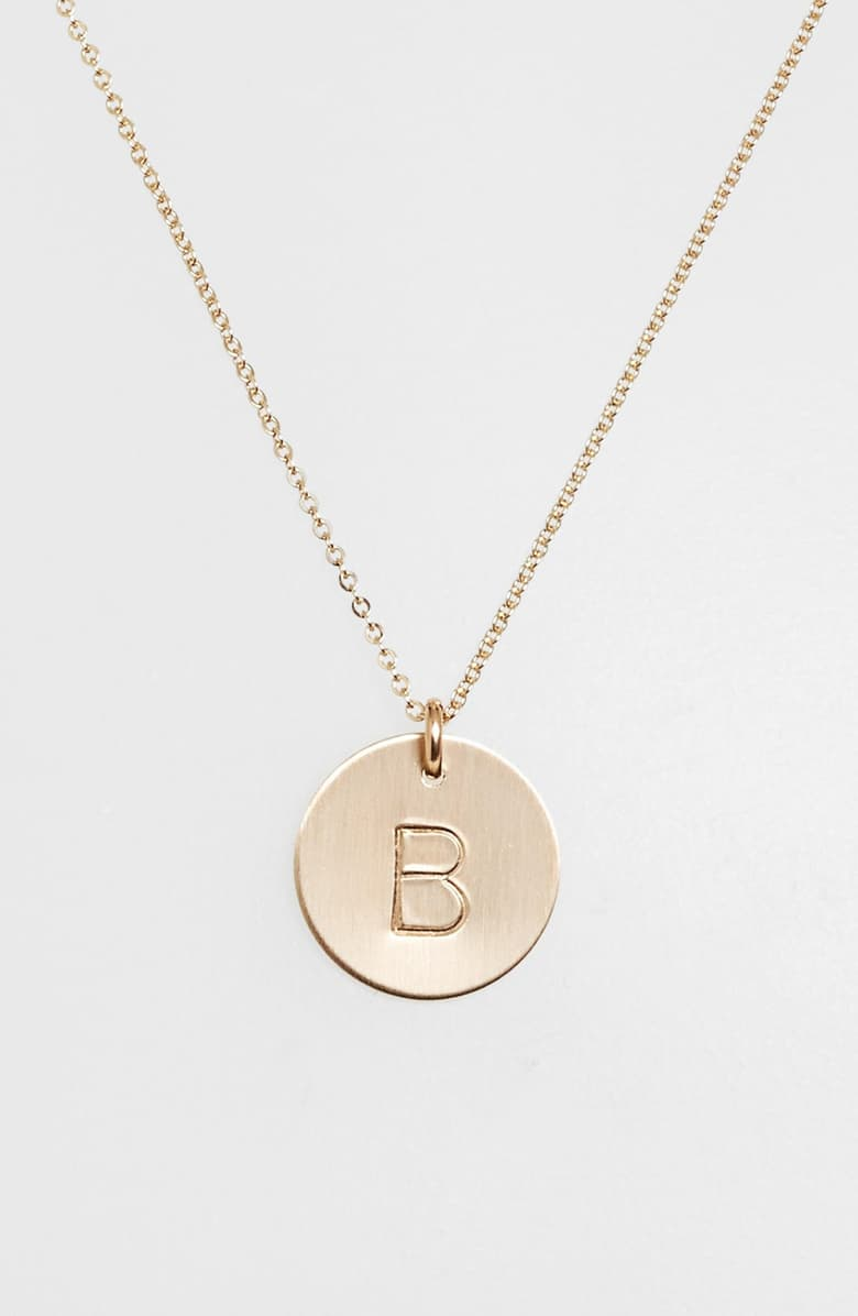 Gold Coin Initial Necklaces