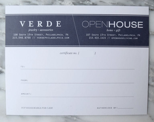 Open House or Verde In Store Gift Certificate