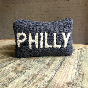 Charcoal Philly Hooked Wool Pillow
