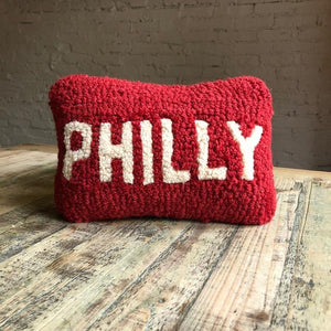 Red Philly Hooked Wool Pillow