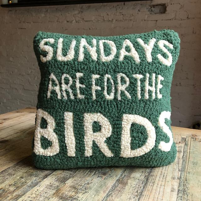 For The Birds Hooked Wool Pillow