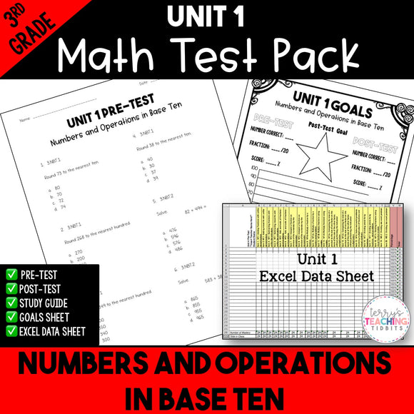 Numbers and Operations in Base Ten Printable Test Pack {3rd Grade Unit 1}