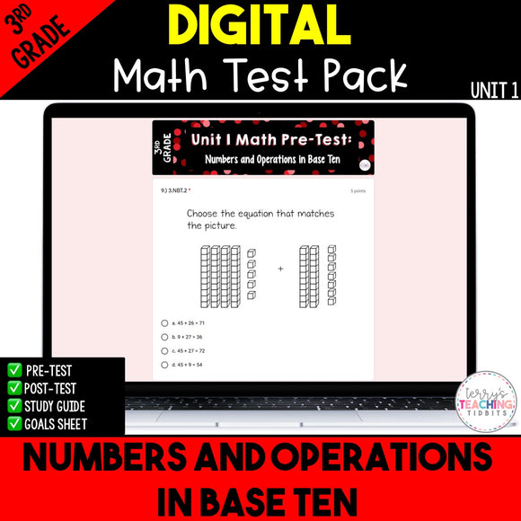 Numbers and Operations in Base Ten Digital Math Test Pack {3rd Grade Unit 1}