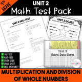 Multiplication and Division of Whole Numbers Printable Test Pack {4th Grade Unit 2}