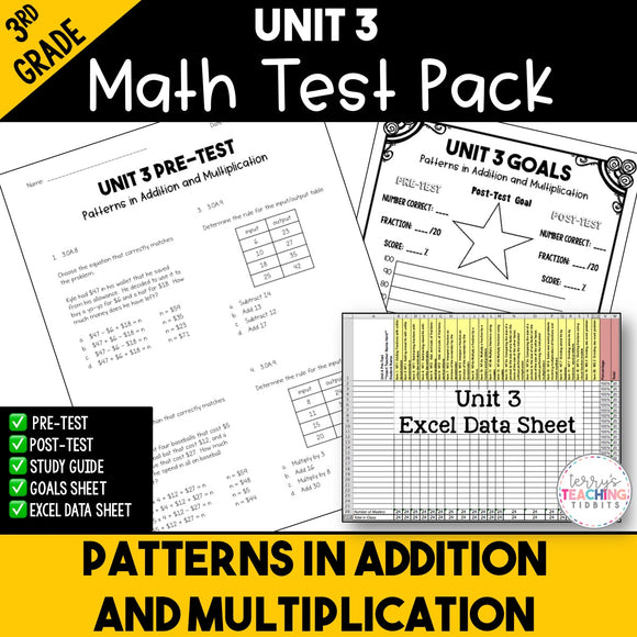 Patterns in Addition and Multiplication Printable Test Pack {3rd Grade Unit 3}