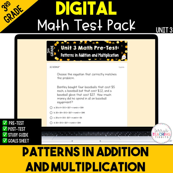 Patterns in Addition and Multiplication Digital Math Test Pack {3rd Grade Unit 3}