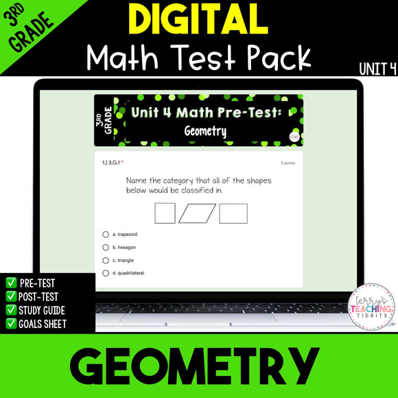 Geometry Digital Math Test Pack {3rd Grade Unit 4}