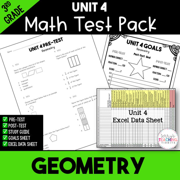 Geometry Printable Test Pack {3rd Grade Unit 4}