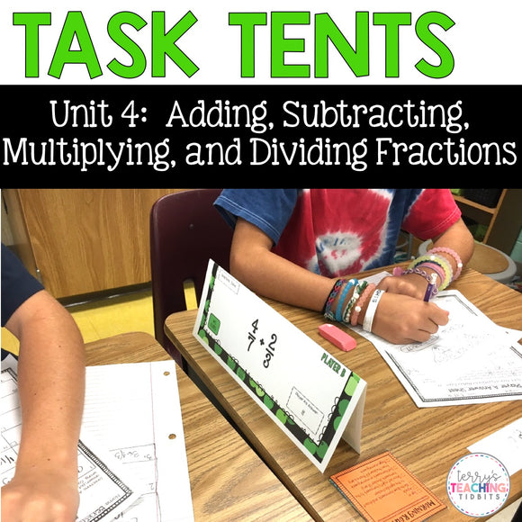 Task Tents™ - Add, Subtract, Multiply, and Divide Fractions {5th Grade Unit 4}