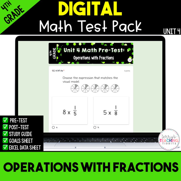 Operations with Fractions Digital Math Test Pack {4th Grade Unit 4}