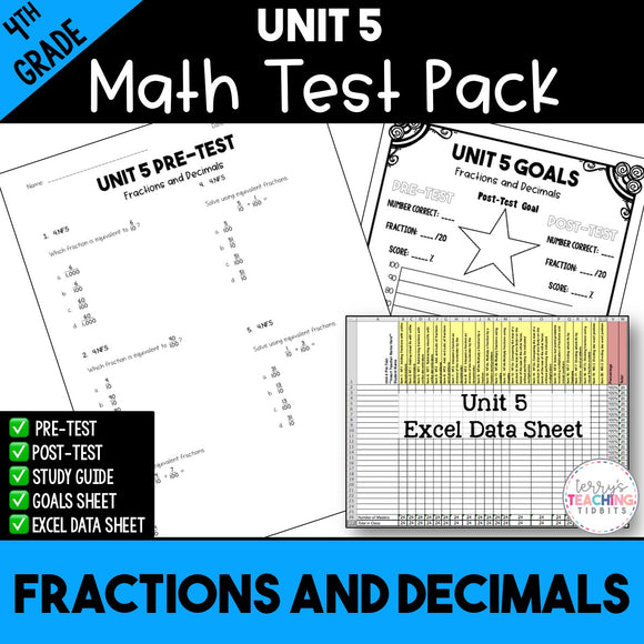 Fractions and Decimals Printable Test Pack {4th Grade Unit 5}