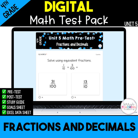 Fractions and Decimals Digital Math Test Pack {4th Grade Unit 5}