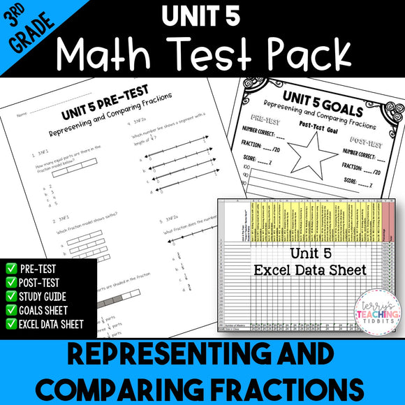 Representing and Comparing Fractions Printable Test Pack {3rd Grade Unit 5}