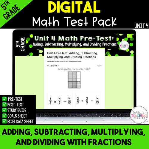 Adding, Subtracting, Multiplying and Dividing with Fractions Test (Digital)
