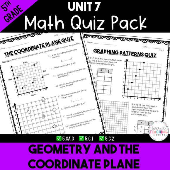 Geometry and the Coordinate Plane Printable Quiz Pack {5th Grade Unit 7}