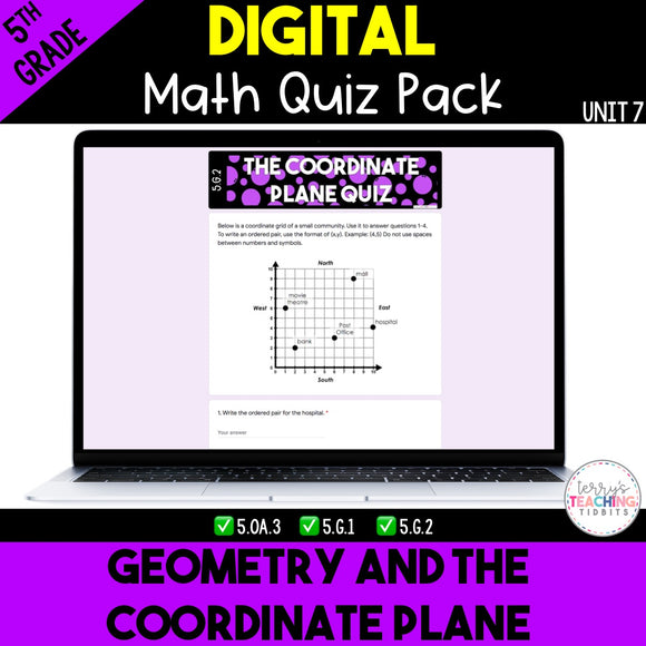 Geometry and the Coordinate Plane Digital Quiz Pack {5th Grade Unit 7}