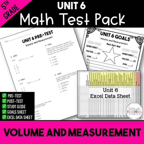 5th Grade Unit 6 Math Test Pack {Paper}
