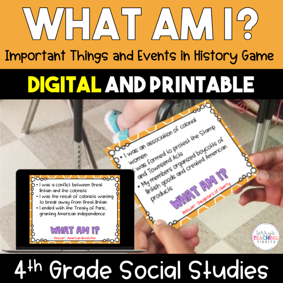 What Am I? Important Things/Events in History - 4th Grade {Digital & Printable}
