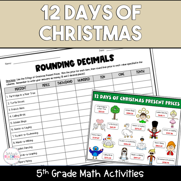 12 Days of Christmas Printable 5th Grade Math Activities