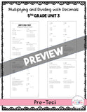 5th Grade Unit 3 Math Test Pack {Paper}