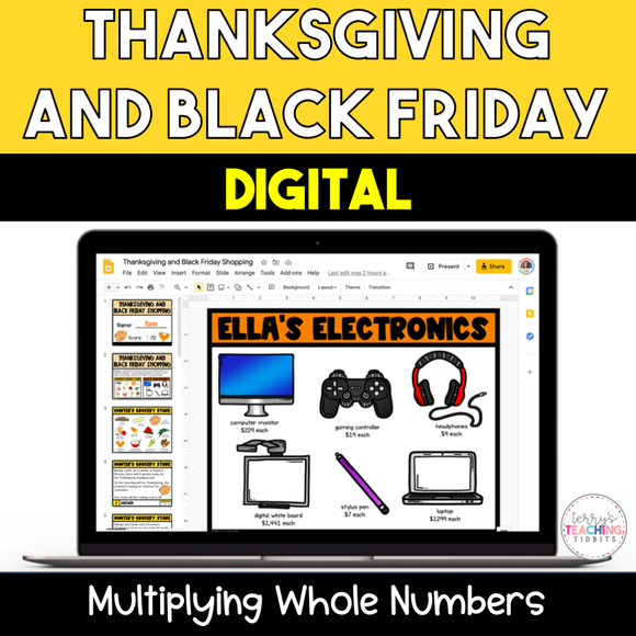 Thanksgiving and Black Friday Digital Multiplication Activity