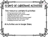 12 Days of Christmas Digital 5th Grade Math Activities