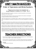 Order of Operations and Whole Numbers Quizzes {5th Grade Unit 1}