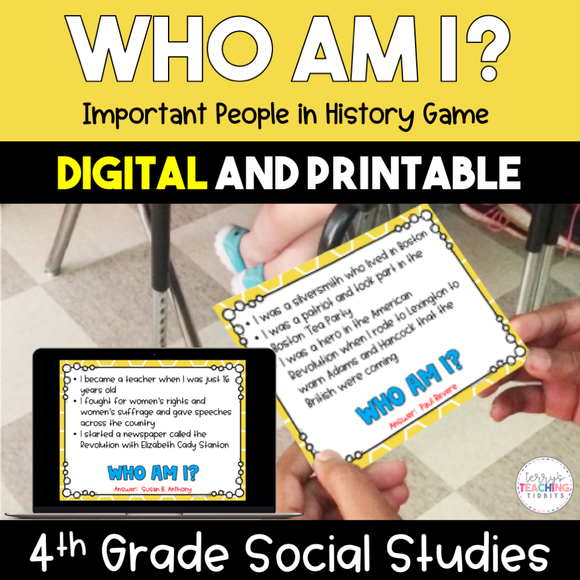 Who Am I?  Important People in History Game - 4th Grade {Digital and Printable}