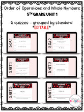 Load image into Gallery viewer, Order of Operations and Whole Numbers Digital Quizzes {5th Grade Unit 1}