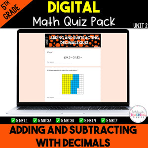 Adding and Subtracting Decimals Digital Quiz Pack {5th Grade Unit 2}