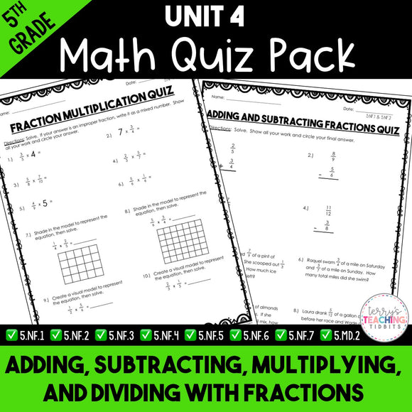 Add, Subtract, Multiply, and Divide Fractions Paper Quiz Pack {5th Grade Unit 4}
