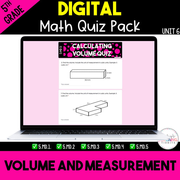 Volume and Measurement Digital Quiz Pack {5th Grade Unit 6}